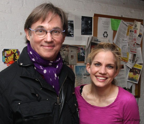 Richard Thomas and Anna Chlumsky backstage at the Longacre Theatre on January 7, 2015. Photo by Lia Chang