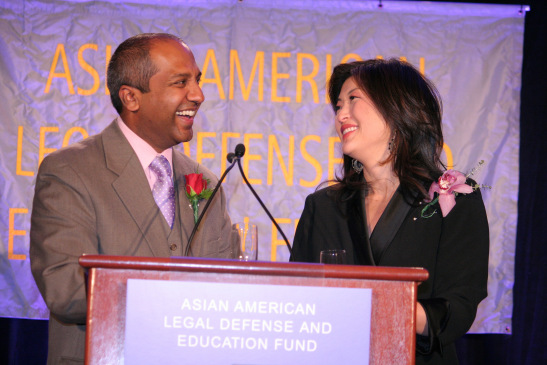 The co-emcees for the evening are Juju Chang, Emmy Award-winning correspondent for ABC News, and Sree Sreenivasan, Chief Digital Officer of the Metropolitan Museum of Art. Photo by Lia Chang