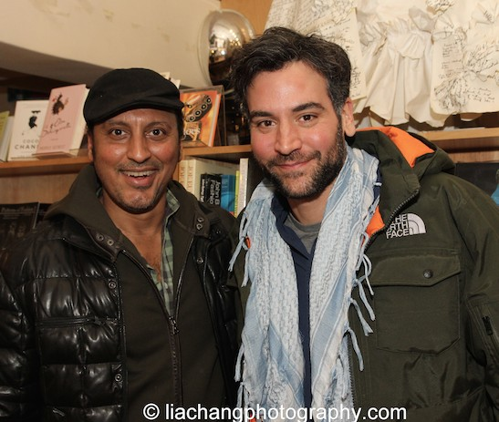 Good pals Aasif Mandvi and Josh Radnor at The Drama Book Shop in New York on January 22, 2015. Photo by Lia Chang