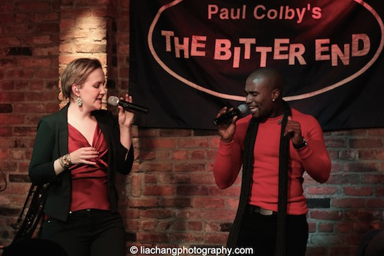 Abbey Janes and Derrick L. Hicks of Duwende in concert at The Bitter End in New York on January 12, 2015. Photo by Lia Chang.