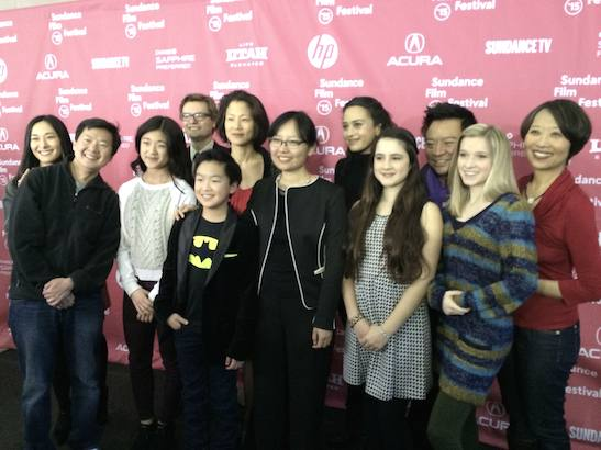 The cast and creative team of ADVANTAGEOUS at the Sundance Film Festival premiere on January 26, 2015 in Park City, Utah. Photo courtesy of Jeanne Sakata