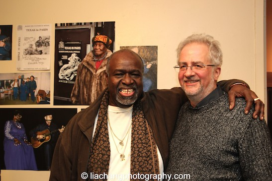 TEXAS IN PARIS director Akin Babatundé and playwright Alan Govenar at The York Theatre Company at Saint Peter's in New York on January 29, 2015. Photo by Lia Chang