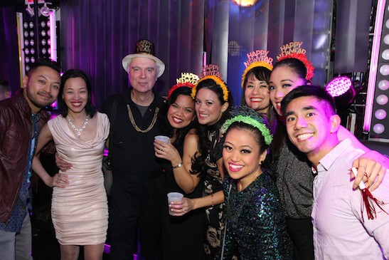 Billy Bustamante, Lia Chang, David Byrne, Melody Butiu, Diane Phelan, Renee Albulario, Ali Ewoldt, Jaygee Macapugay and Aaron J. Albano on New Year's Eve at HERE LIES LOVE. Photo by Rogier de Boer