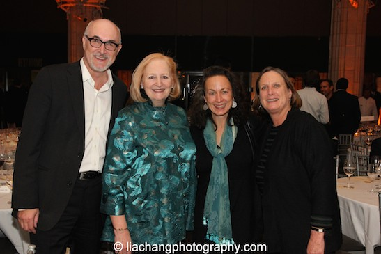 David Baile, Chief Executive Officer of ISPA with 2015 Award winners Susan Stockton (2015 ISPA Patrick Hayes Award), Laura Paul and Jane Preston, Interim Co-Executive Directors, NEFA (2015 ISPA Angel Award) at the 2015 ISPA Congress Awards Dinner at Guastavino's in New York on January 14, 2015. Photo by Lia Chang