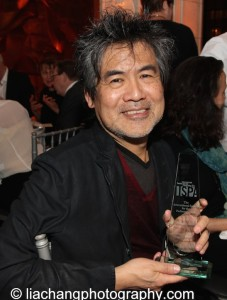 David Henry Hwang receives the 2015 ISPA Distinguished Artist Award at the 2015 ISPA Congress Awards Dinner at Guastavino's in New York on January 14, 2015. Photo by Lia Chang