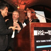 David Henry Hwang receives the 2015 ISPA Distinguished Artist Award from Tim Brinkman and Jacqueline Davis at the 2015 ISPA Congress Awards Dinner at Guastavino's in New York on January 14, 2015. Photo by Lia Chang