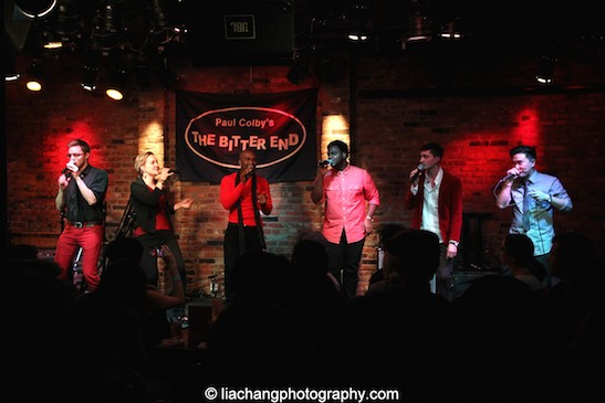 David Lane, Abbey Janes, Derrick L. Hicks, J. Aaron Boykin, Tomas Cruz and Edward Chung of Duwende in concert at The Bitter End in New York on January 12, 2015. Photo by Lia Chang