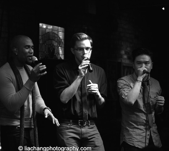 Derrick L. Hicks, David Lane and Edward Chung of Duwende in concert at The Bitter End in New York on January 12, 2015. Photo by Lia Chang