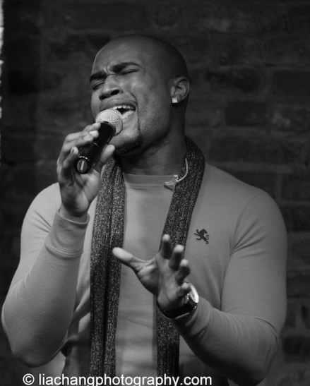 Derrick L. Hicks of Duwende in concert at The Bitter End in New York on January 12, 2015. Photo by Lia Chang