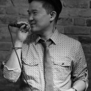 Edward Chung of Duwende in concert at The Bitter End in New York on January 12, 2015. Photo by Lia Chang