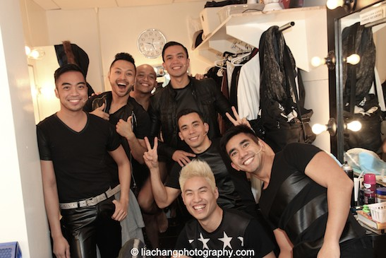 Backstage at HERE LIES LOVE with Enrico Rodriguez, Billy Bustamante, Jeigh Madjus, Jose Llana, Conrad Ricamora, Tobias Wong and Aaron J. Albano at The Public Theater's LuEsther Hall in New York on December 31, 2014. Photo by Lia Chang
