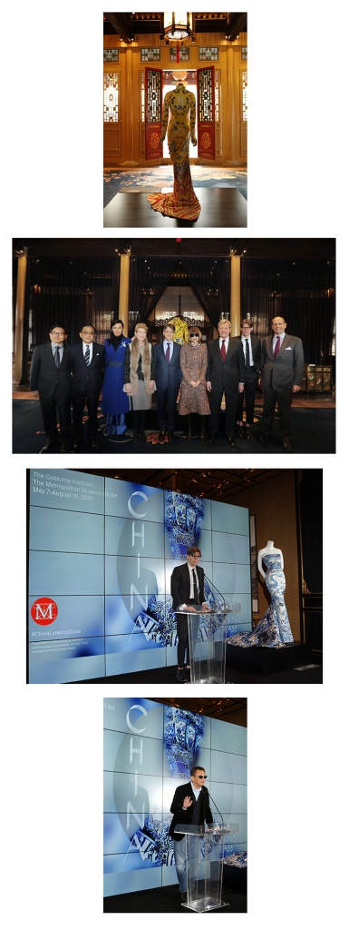 Image Captions:  1. Yves Saint Laurent by Tom Ford, 2004 2. From left: Chen Zhang, Silas Chou, Wendi Murdoch, Emily Rafferty, Thomas P. Campbell,      Anna Wintour, Max Baucus, Andrew Bolton and Maxwell K. Hearn 3. Andrew Bolton, Curator, The Costume Institute 4. Artistic Director of China: Through the Looking Glass, renowned filmmaker Wong Kar Wai  All Photos courtesy of The Metropolitan Museum of Art