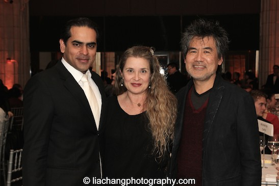 Gaurav Kripalani, Artistic/Managing Director, Singapore Repertory Theatre, Kathryn Layng and her husband David Henry Hwang, 2015 ISPA Distinguished Artist Award recipient at the 2015 ISPA Congress Awards Dinner at Guastavino's in New York on January 14, 2015. Photo by Lia Chang