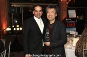 Gaurav Kripalani, Artistic/Managing Director, Singapore Repertory Theatre, David Henry Hwang, 2015 ISPA Distinguished Artist Award recipient at the 2015 ISPA Congress Awards Dinner at Guastavino's in New York on January 14, 2015. Photo by Lia Chang
