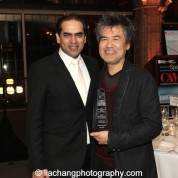 Gaurav Kripalani, Artistic/Managing Director, Singapore Repertory Theatre, David Henry Hwang, 2015 ISPA Distinguished Artist Award recipient at the 2015 ISPA Congress Awards Dinner at Guastavino's in New York on January 14, 2015. Photo by Lia Chang