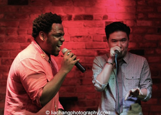 J. Aaron Boykin and Edward Chung of Duwende in concert at The Bitter End in New York on January 12, 2015. Photo by Lia Chang