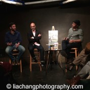 Josh Radnor, playwright Ayad Akhtar and Aasif Mandvi discuss DISGRACED at The Drama Book Shop in New York on January 22, 2015. Photo by Lia Chang