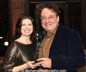 Julia Glawe, Director of Booking, Pomegranate Arts, and Graham Sheffield CBE, 2015 ISPA International Citation of Merit Award recipient at Guastavino's in New York on January 14, 2015. Photo by Lia Chang