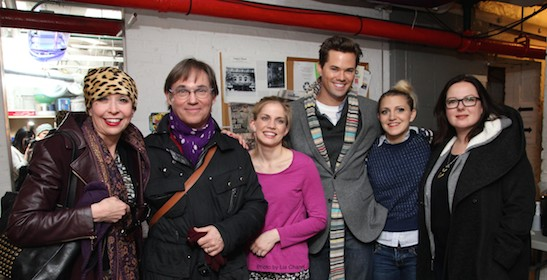 Julie Halston, Richard Thomas, Anna Chlumsky, Andrew Rannells, Annaleigh Ashford and guest backstage at the Longacre Theatre in New York on January 7, 2015. Photo by Lia Chang