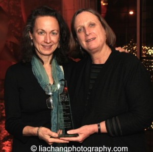 Laura Paul, Interim Co-Executive Director, NEFA and Jane Preston, Interim Co-Executive Director, NEFA, recipients of the 2015 ISPA Angel Awards at the 2015 ISPA Congress Awards Dinner at Guastavino's in New York on January 14, 2015. Photo by Lia Chang