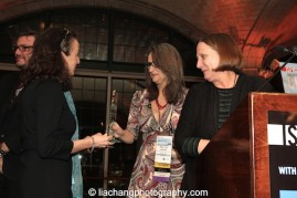 Mary Lou Aleskie, Executive Director, International Festival of Arts and Ideas, presented Laura Paul and Jane Preston of NEFA at the 2015 ISPA Congress Awards Dinner at Guastavino's in New York on January 14, 2015. Photo by Lia Chang