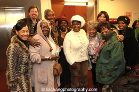 TEXAS IN PARIS stars Scott Wakefield and Lillias White with audience members at The York Theatre Company at Saint Peter's in New York on January 29, 2015. Photo by Lia Chang