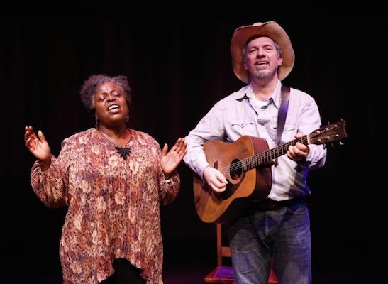 Lillias White as Osceola Mays and Scott Wakefield as John Burrus in Texas in Paris. Photo by Carol Rosegg