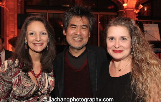 Mary Lou Aleskie, David Henry Hwang, 2015 ISPA Distinguished Artist Award recipient and his wife Kathryn Layng at the 2015 ISPA Congress Awards Dinner at Guastavino's in New York on January 14, 2015. Photo by Lia Chang