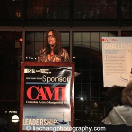 Mary Lou Aleskie, Executive Director, International Festival of Arts and Ideas, speaks at the 2015 ISPA Congress Awards Dinner at Guastavino's in New York on January 14, 2015. Photo by Lia Chang