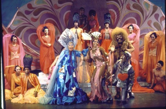 "Actors (Front L-R) Clarice Taylor, Dee Dee Bridgewater, Ted Ross & Tiger Haynes w. cast in a scene fr. the Broadway musical ""The Wiz"".(c.1974) Photo by Martha Swope courtesy of THE NEW YORK PUBLIC LIBRARY DIGITAL COLLECTIONS"
