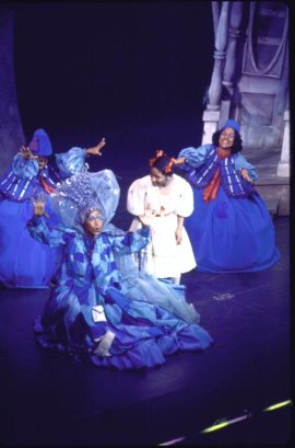 """Actors (L-R) Clarice Taylor, Stephanie Mills & Phylicia Rashad (rear) in a scene fr. the Broadway musical """"The Wiz"""". (c.1974) Photo by Martha Swope courtesy of THE NEW YORK PUBLIC LIBRARY DIGITAL COLLECTIONS"""