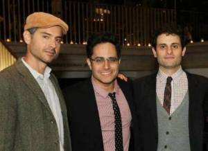 Omar Metwally, Rajiv Joseph and Arian Moayed in the Vivian Beaumont Theater Lobby for the 2013 Steinberg Playwright Award Reception on November 18, 2013. Photo by Lia Chang