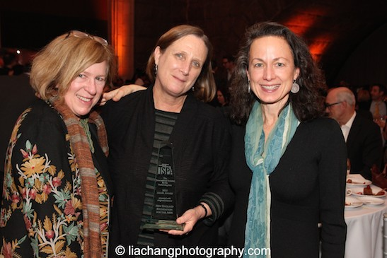 Rachel Cooper, Director of Global Performing Arts and Special Cultural Initiatives,   Asia Society, congratulates Jane Preston and Laura Paul, Interim Co-Directors, NEFA, who received the 2015 ISPA Angel Award at the 2015 ISPA Congress Awards Dinner at Guastavino's in New York on January 14, 2015. Photo by Lia Chang