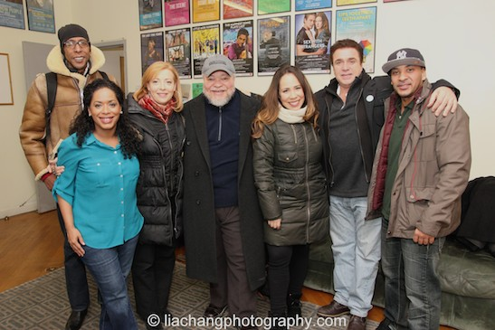 Ron Cephas Jones, Liza Colón-Zayas, Elizabeth Canavan, Stephen McKinley Henderson, Rosal Colón,  Michael Rispoli and Victor Almanzar in the Second Stage Theatre green room on January 21, 2015. Photo by Lia Chang