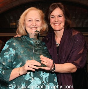 Susan Stockton receives the 2015 ISPA Patrick Hayes Award from Maria Hansen, Managing Director, Municipal Theatre & Philharmonie Haarlem, at the 2015 ISPA Congress Awards Dinner at Guastavino's in New York on January 14, 2015. Photo by Lia Chang