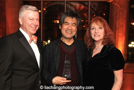 Tim Brinkman, Director, HQ Theatres, David Henry Hwang, 2015 ISPA Distinguished Artist Award recipient, and Jacqueline Davis, Executive Director, New York Public Library for the Performing Arts, at the 2015 ISPA Congress Awards Dinner at Guastavino's in New York on January 14, 2015. Photo by Lia Chang