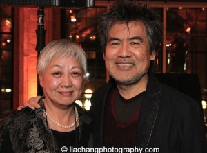 Tisa Ho, Executive Director, Hong Kong Arts Festival and David Henry Hwang, 2015 ISPA Distinguished Artist Award recipient at the 2015 ISPA Congress Awards Dinner at Guastavino's in New York on January 14, 2015. Photo by Lia Chang