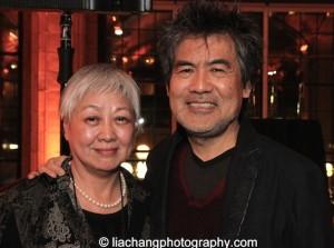 Tisa Ho, Executive Director, Hong Kong Arts Festival and David Henry Hwang, 2015 ISPA Distinguished Artist Award recipient at the 2015 ISPA Congress Awards Dinner at Guastavino's in New York on January 14, 2015. Photo by Lia Chang