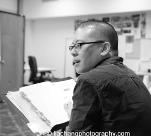 Director Eric Ting in rehearsal for The World of Extreme Happiness at Manhattan Theatre Club in New York on January 27, 2015. Photo by Lia Chang