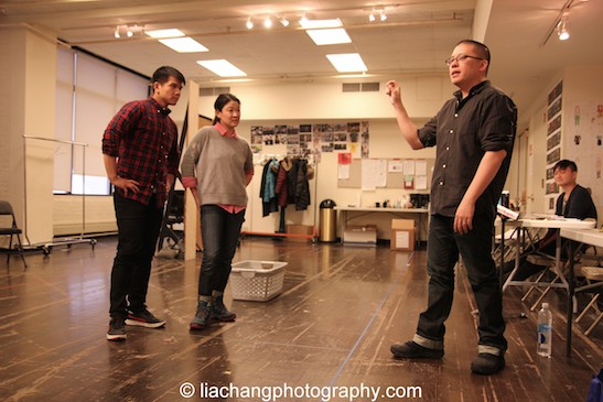 Telly Leung, Jennifer Lim and director Eric Ting in rehearsal for The World of Extreme Happiness at Manhattan Theatre Club in New York on January 27, 2015. Photo by Lia Chang