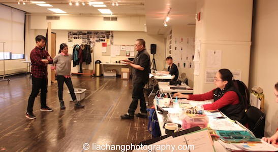 Telly Leung, Jennifer Lim, director Eric Ting, assistant director Chongren Fan, production stage manager Winnie Lok and Catherine Lynch in rehearsal for The World of Extreme Happiness at Manhattan Theatre Club in New York on January 27, 2015. Photo by Lia Chang