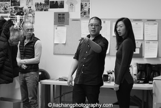 Francis Jue, Eric Ting and Jo Mei in rehearsal for The World of Extreme Happiness at Manhattan Theatre Club in New York on January 27, 2015. Photo by Lia Chang