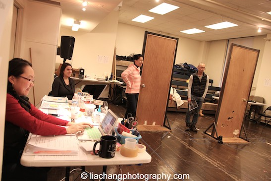 Production stage manager Winnie Lok, Sue Jin Song and Francis Jue in rehearsal for The World of Extreme Happiness at Manhattan Theatre Club in New York on January 27, 2015. Photo by Lia Chang