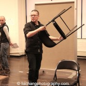 Francis Jue and director Eric Ting in rehearsal for The World of Extreme Happiness at Manhattan Theatre Club in New York on January 27, 2015. Photo by Lia Chang