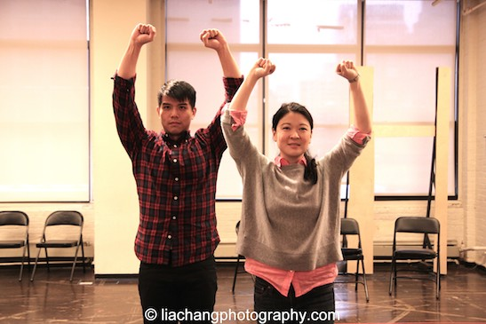 Telly Leung and Jennifer Lim in rehearsal for The World of Extreme Happiness at Manhattan Theatre Club in New York on January 27, 2015. Photo by Lia Chang