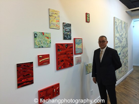 """Trestle Gallery opening reception for """"Swimming Awkward Moment,"""" new works by Arlan Huang in Brooklyn on February 20, 2015. Photo by Lia Chang"""