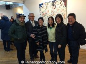 "Trestle Gallery opening reception for ""Swimming Awkward Moment,"" new works by Arlan Huang, seen here with family members, in Brooklyn on February 20, 2015. Photo by Lia Chang"