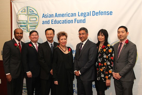 Sree Sreenivasan, chief digital officer of the Metropolitan Museum of Art, AALDEF board president Tommy Shih, 2015 Justice in Action Award Recipients John W. Kuo, Senior Vice President and General Counsel of Varian Medical Systems, Jessica Hagedorn, novelist, poet, and playwright, and Neal Katyal, partner at Hogan Lovells, Paul Saunders Professor at Georgetown University, and former Acting Solicitor General of the United States, AALDEF executive director Margaret Fung and Andrew Hsiao, senior editor at Verso Books at the Asian American Legal Defense and Education Fund's lunar new year gala at Pier Sixty at Chelsea Piers in New York on February 23, 2015. Photo by Lia Chang