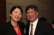 Kathy Hirata Chin and her husband Judge Denny Chin at the Asian American Legal Defense and Education Fund's lunar new year gala at Pier Sixty at Chelsea Piers in New York on February 23, 2015. Photo by Lia Chang