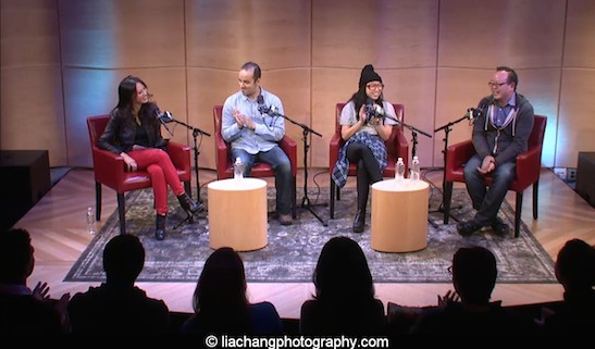 Amy Chua, Jay Smooth, Awkwafina and Jeff Yang during a live streamed talk about Fresh Off the Boat at WNYC at The Greene Space on February 9, 2015. Photo by Lia Chang